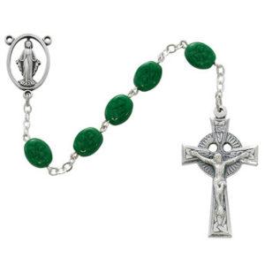 Sterling Silver Green Shamrock Rosary