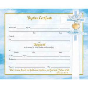 Inspirational Line Baptism Certificates