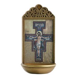 San Damiano Crucifix 6″ Holy Water Font