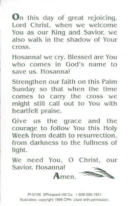 Palm Sunday Prayer Card