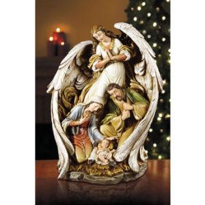 15″ Angel With Nativity Scene