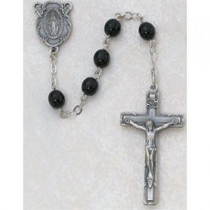 7 MM Black Glass Rosary