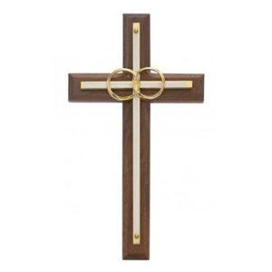 Walnut White Wedding Cross