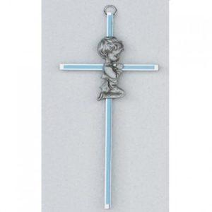 6″ Silver Blue Cross with Boy
