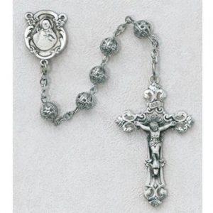 6 MM Silver Filigree Rosary