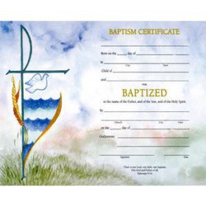 Watercolor Line Baptism Certificates