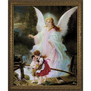 Angel on the Perilous Bridge – Gold Frame