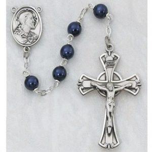 7 MM Blue Metallic Rosary