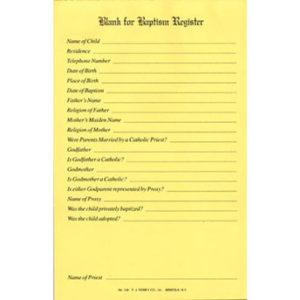 Baptismal Register Blanks