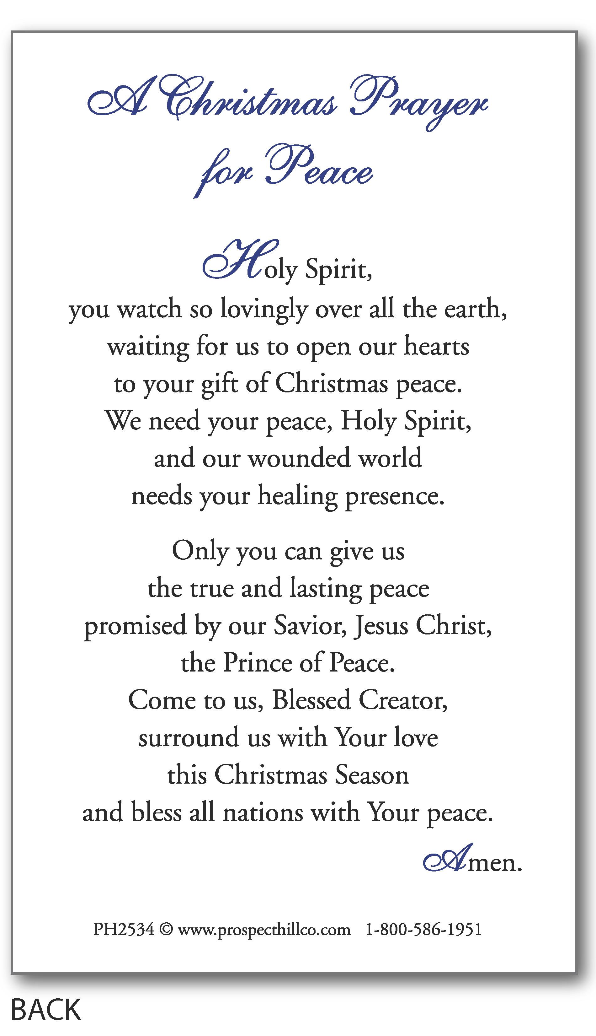 Christmas Prayer.A Christmas Prayer For Peace Price Per 100