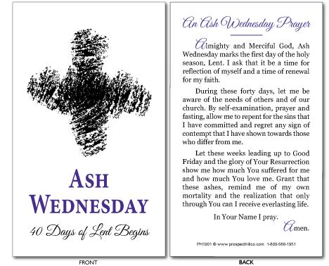 Ash Wednesday Prayer Card