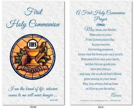 First Communion Prayer Card