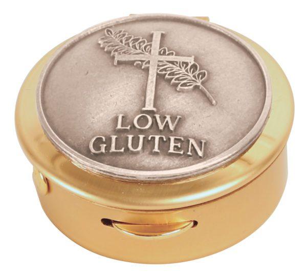 Brass with pewter 'Low Gluten' medallion Pyx